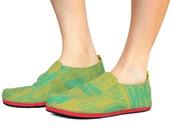 SAMPLE Sz. 9 Olive Teal Cactus Canvas/Rubber Lightweight Slip On Shoe