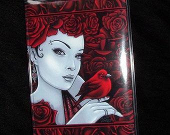 Scarlet Red Roses Bird Fairy Vinyl Business Card Holder