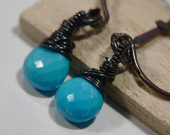 Turquoise Earrings, Turquoise and Oxidized Sterling Silver Earrings, Oxidized Sterling Silver, Sterling silver