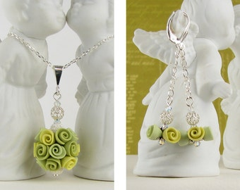Necklace & Earrings SET- Green Roses - Polymer Clay and Sterling Silver With Swarovski Crystals