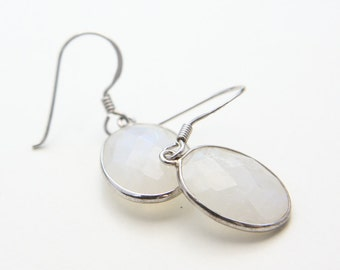 Sterling Silver Framed Oval Faceted Moonstone Drop Earrings (E103)