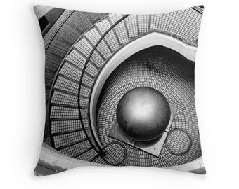 Abstract Architecture - Escher-ish (MC Escher photo throw pillow cusion cover, surreal black and white photography art modern urban city)