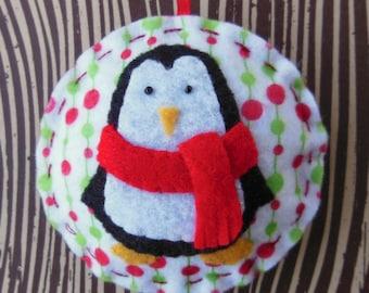 Felt Penguin Christmas Ornament - Cozy Winter Penguin No. 2 - SALE
