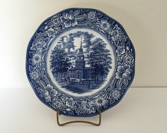 Staffordshire Liberty Blue Independence Hall dinner plate - blue and white - 1970s