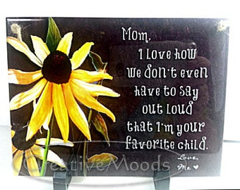 Personalized Mothers Day Tile Saying Poem with Original Art