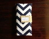On-The-Go Diaper Clutch Navy Blue Chevron Canvas - Personalized