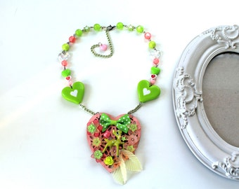Kawaii fairy kei necklace fawn deer woodland green