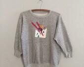 Ski sweatshirt / heather grey sweatshirt / vintage sweatshirt