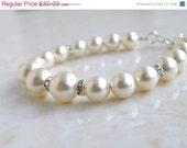 42% Off Bridal Pearl Bracelet Ivory Swarovski  Sterling Silver CNB4