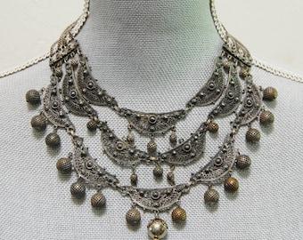 1940s Silver Plate Bib Festoon Necklace Ornate Middle Eastern Vintage Rice Weiner Etrusceana
