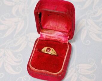Antique Uncas Childs Ring in Original Velvet Hirsh San Jose Box Synthetic 1920s Ruby