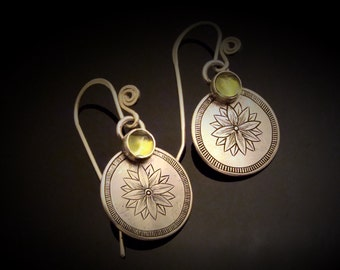 Hand Engraved Sterling Silver And Peridot Earrings
