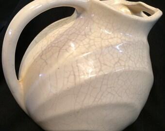 Vintage Creamy White Pottery Pitcher