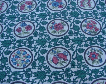 Remnant Piece of Vintage Pink and Green Floral Print Fabric