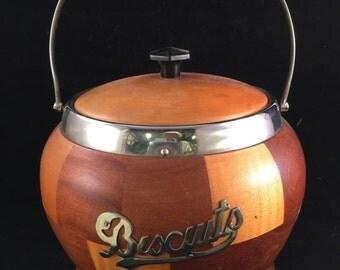 Vintage Wood Mosaic Biscuit Jar with Removable Liner