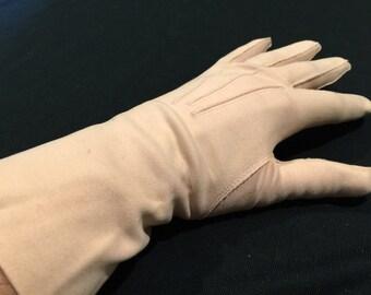 One (1) Pair of Vintage Tan/Skintone Nylon Stretch Ladies' Gloves