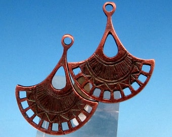 Fan Pendant, Mykonos Casting Bronze Patina, 2 Pieces, M343