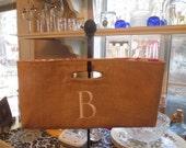 Burlap Monogrammed Wine Bag with Chevron Zig Zag lining