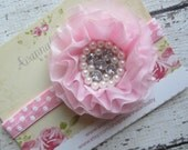Pink Chiffon Flower with Pearls and Rhinestones on Pink Polka Dot Headband