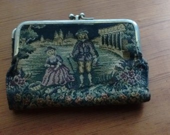 Vintage Mid Century Baronet Tapestry and Leather Wallet