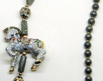 Vintage Cloisonne Horse Necklace - Long Gemstone Necklace - White Horse - Gold Accents - Cloisonne Beads - Free US Shipping