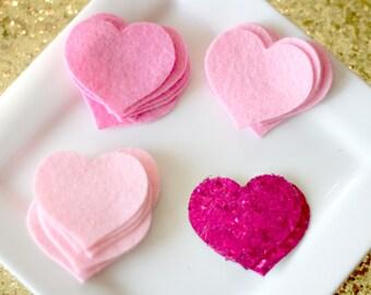 Glitter Felt Heart Wool Felt Hairbow Pink Ombre Pink, Cotton Candy, Shocking PInk, Fuchsia Glitter Hearts 1.5 inch set of 16