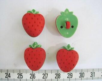 16 pcs of Red Strawberry Button - Matte LAST SET