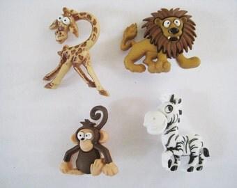Jesse James Button Dress It Up Button - Silly Safari Zebra Monkey Lion Giraffe