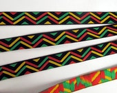 MASAI, 3 yards Jacquard trim in red green yellow and black. 9/16 inch wide. 999-A African power trim