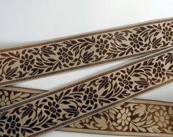 3 yards FLORAL CAMEO embroidered Jacquard trim chocolate brown on beige. 1 1/8 inch wide. 998-B