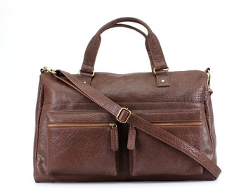 Brown Leather Weekend Holdall Travel Bag Purse