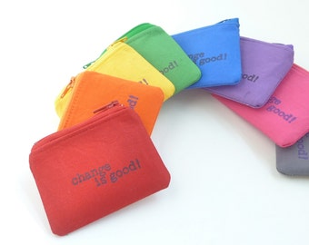tiny zipper pouch. pick one roygbp inspirational quote. party favor teen girl boy. pill hearing aid pouch. earbud case