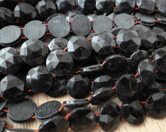 1 Strand Antique Victorian Black Glass Two Hole Nail Head Beads C29