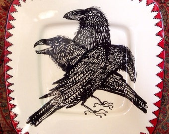ShapeShifter Raven Platter Black White and Red for Table and Wall Art Ceramic Hand Painted Original