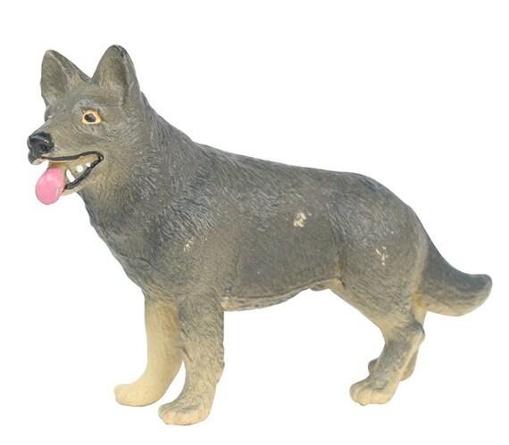 vintage german shepherd 2 pcs bullyland miniature dog. Black Bedroom Furniture Sets. Home Design Ideas