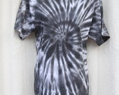 Tie Dye Shirt -Adult Large- Crew Neck -Short Sleeve  - Black and White and Brown - 100% Cotton