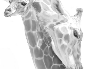 Orginal Art, Black and White, Digital Illustration 8x10, Giraffe, Mother and Baby, A Mother's Love