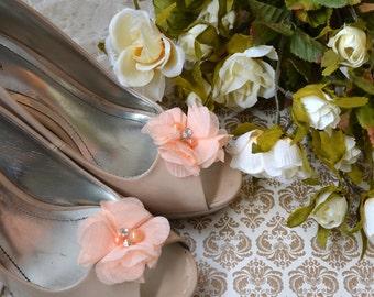 Flower Shoe Clips, Peach Flower shoe clips, shoe clips, blush wedding shoe clips, rhinestone shoe clips, pearl