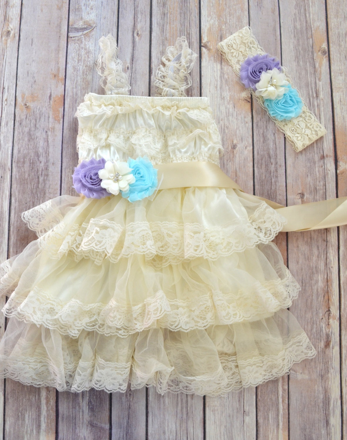 Lilac Aqua Ivory Lace Flower Girl Dress by MaidenLaneBoutique