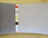 Modern Lumbar Pillow - Linen Triptych (Olive)