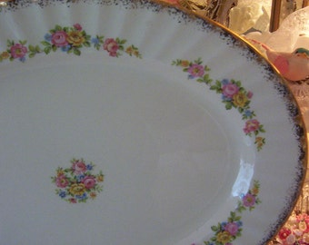 """vintage edwin knowles cream and pink china large oval platter, shabby pink & yellow roses, cottage chic pattern, gold trim, large oval 15"""""""