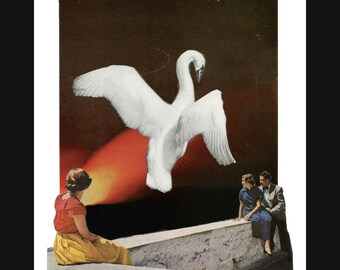 NEW swan song (canto 5) 8X10 surreal collage giclee art print