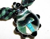 Dark Side of the Rainbow Mushroom Phat Hemp Necklace - Lampwork Glass Mushroom Pendant Hemp Jewelry