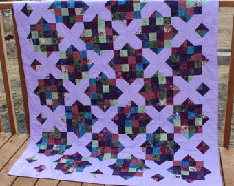 Quilt - purple cross couch quilt