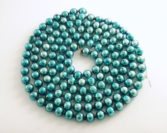 Vintage Glass Bead Garland Christmas Decoration Aqua Large Beads