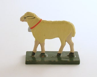 Antique Miniature Wood Lamb Figurine Sheep Erzgebirge Flachfiguren Germany