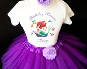 Ariel Princess Little Mermaid Purple 1st First Girl Birthday Tutu Outfit Custom Personalized Name Age Party Shirt Set