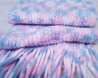 pink and blue patches woolen scarf