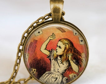 Alice in wonderland playing cards necklace , alice pendant , Wonderland fantasy jewelry , alice jewelry, alice charm art pendant, handmade