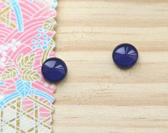 Sale - 10 pcs handmade navy blue color glass cabochons 12mm (12-91245)